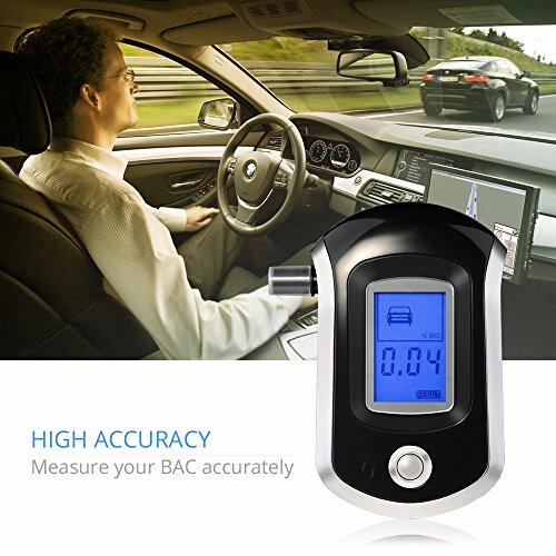 [Latest Version]VicTsing Éthylotest Numérique Alcootest avec Capteur Semi-conducteur et Écran LCD pour Chauffeurs (5 Embouts inclus)