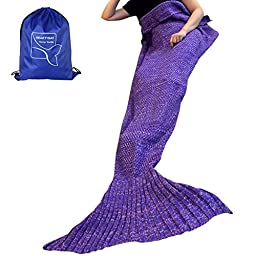 heartybay Crochet Mermaid Tail Blanket Super Soft fabric for Adult girls kids Living Room, Mermaid blanket Summer Soft Sleeping Bags (71\