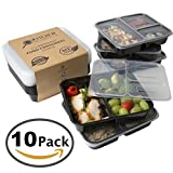 #1 Selling 3 Compartment Food Containers With Lids for Meal Prep (10 Pack) Reusable Bento Lunch Box, Stackable, Food Storage, Microwave and Dishwasher safe! BPA Free Portion Control Container Plates