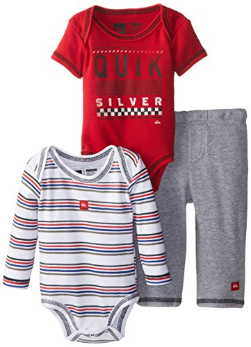 Quiksilver Babys Newborn Red Short Stripes Long Sleeve Bodysuit And Pant, Red, 0-3 Months front-1027022