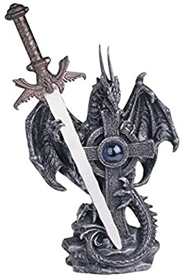 StealStreet SS-G-71331 Dragon Collection with Sword Collectible Fantasy Decoration Figurine