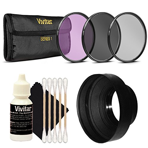 Vivitar-58mm-3-Function-Collapsible-Rubber-Lens-Hood-58mm-UV-CPL-FLD-Lens-Filter-Set-3-PC-Cleaning-Kit-for-Canon-EOS-Rebel-or-Nikon-DSLR-Cameras