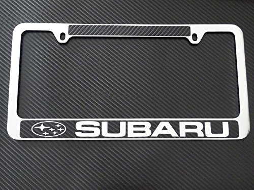 Subaru license plate frame chrome metal,carbon fiber details,chrome text (Subaru License Plate Frame Chrome compare prices)