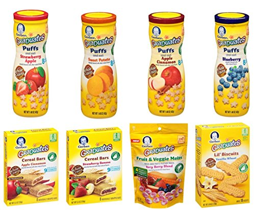 Gerber Graduates Variety Snack Pack (Includes Includes 4 Puffs, 1 Lil' Biscuits, 1 Fruit and Veggie Melts, 1 Fruit Strips, 1 Fruit and Oat Bars) (Organic Yogurt Bite Gerber compare prices)
