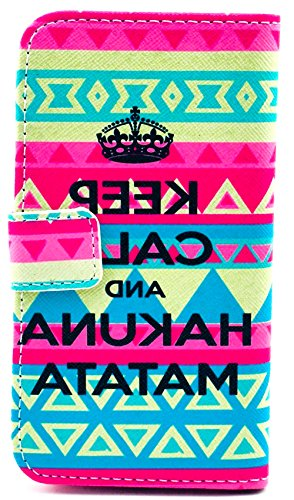 Images for myLife Rainbow and Pink {Keep Calm Hakuna Matata Tribal Design} Faux Leather (Card, Cash and ID Holder + Magnetic Closing) Slim Wallet for Galaxy Note 3 Smartphone by Samsung (External Textured Synthetic Leather with Magnetic Clip + Internal Secure Snap In Closure Hard Rubberized Bumper Holder)