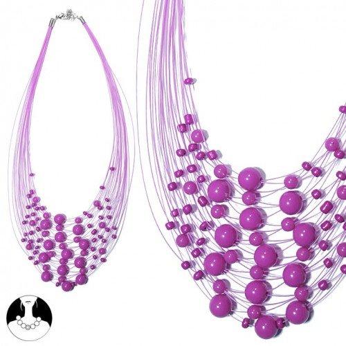 sg paris women necklace necklace 40cm+ext fushia plastic