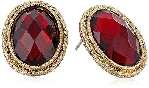 1928 Jewelry Gold-Tone Siam Red Faceted Oval Button Stud Earrings