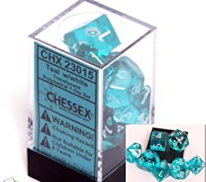 Polyhedral 7-Die Translucent Dice Set - Teal