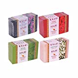 Khadi Mauri Jasmine, Khas, Rose & Lime-Lavender Soap Combo (Pack of 4) - Herbal handcrafted