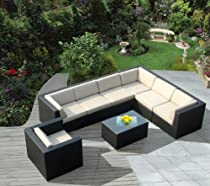 Big Sale Genuine Ohana Outdoor Patio Sofa Sectional Wicker Furniture 8pc Couch Set with Free Patio Cover