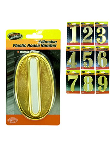 Plastic house numbers with adhesive back, Case of 45