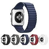 Apple Watch バンド,morningsun XG レザーループ アップルウォッチ用時計バンド交換ベルト 7色から選べます(42mm、ブルー)