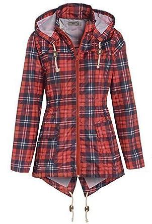 Women's Tartan Raincoat Parka Size 8 - 16 (UK - 8, Red Tartan)