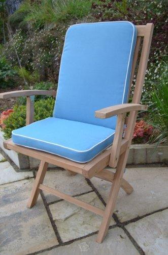 Luxus-Sitzkissen Auflage mit Premium-Füllung, für Innen-/Außenbereich,, (2)-Sitzpolster), Hellblau