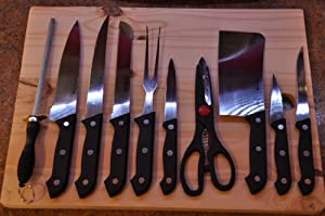 11 Piece Professional Knife Set with Wood Cutting Board by Agape Essentials