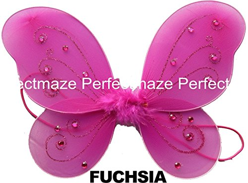 "Perfectmaze 12"" x 10"" Infant Child Fairy Princess Butterfly Wings Costume -- Fuchsia"