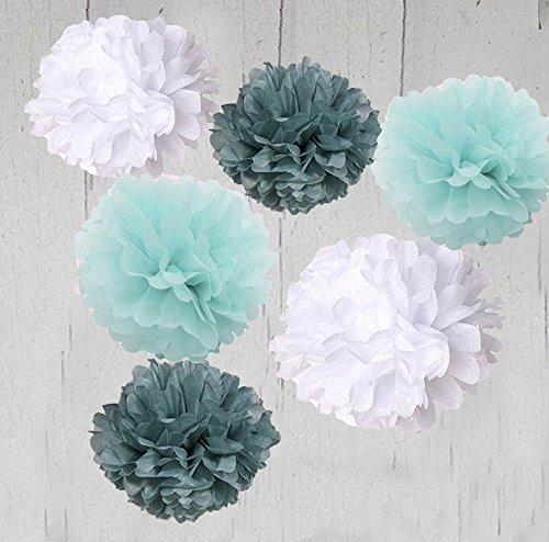 6pcs 27cm Christmas Tree Honeycombs Tissue Paper Trees: HEARTFEEL 6pcs 10 Inch Tissue Paper Pom-poms White Grey