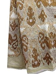Inhika Women's Kurti Fabric (Inhika_432_Cream Brown Gold)