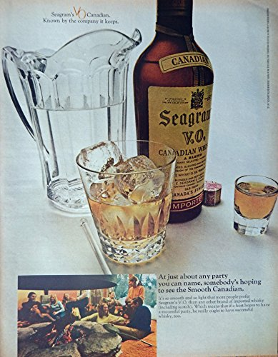 Seagram's V.O. Canadian Whiskey, 60's Print ad. Full Page Color Illustration (party-fireplace-popcorn) Original Vintage 1969 Look Magazine Print Art (Popcorn 1969 compare prices)