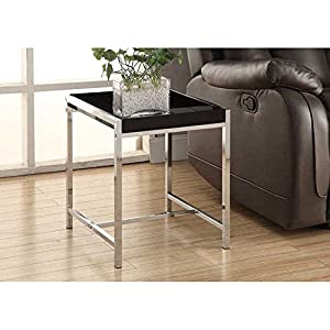 Monarch Metal Accent Table, Black Acrylic/Chrome