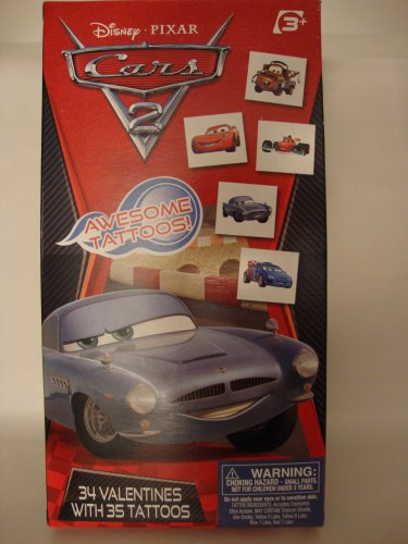 Disney Cars 2 - 34 Valentines with 35 Tattoos