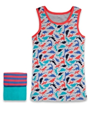 3 Pack Pure Cotton Dinosaur Vests