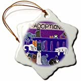 3dRose orn_34022_1 Cats, Cat, Kittens, Kitten, Cat Adoption, Cat Rescue, Pet Adoption, Cat Cartoon Art-Snowflake Ornament, 3-Inch, Porcelain