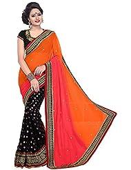 SRP Fashion Selection Women's Chiffon Saree (SRP106-119 , Black)