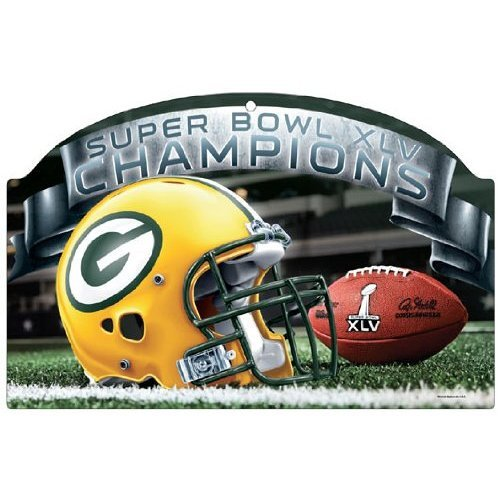 Green Bay Packers Super Bowl XLV 45 Champs Wood Sign