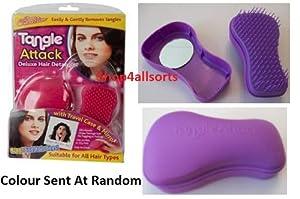 Hair Brush, De - Tangle Attack Brush, Hair Bean. As Seen On TV.(With travel case inc Mirror)