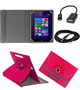 ECellStreet ROTATING 360° PU LEATHER FLIP CASE COVER FOR iBall 6351 Q40i 7 INCH TABLET STAND COVER HOLDER - Dark Pink + Free Aux Cable + Free OTG Cable
