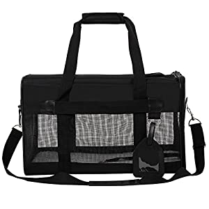 SONGMICS Large Soft Sided Pet Carrier Washable Dog Travel Carrier w/ Removable Bed for Dog Cat Black UPPC51H