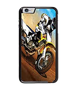 Fuson Premium Dirt Biking Metal Printed with Hard Plastic Back Case Cover for Apple iPhone 6 Plus