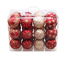 Valery Madelyn 24 Set Luxury Red and Gold Shatterproof Christmas Ball Ornaments,70mm/2.75inch,24 Hooks Included