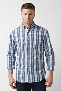 Tall Short Sleeve Poplin Button Down Plaid Woven Shirt