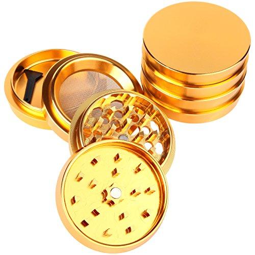 Zip-Grinders-Pagoda-Tower-Spice-and-Herb-Grinder-Four-Piece-with-Pollen-Catcher-Premium-Grade-Aluminum-25-Gold