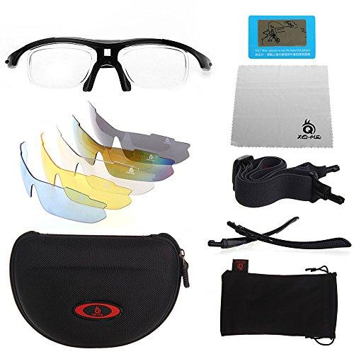 XQ-XQ® UV400 Polarisierte Sportbrille Radbrille Sonnenbrille Wechselgläser (x5 Farben) für Radfahren - Skifahren - Laufen - Driving - Motorradfahrer -Golf.