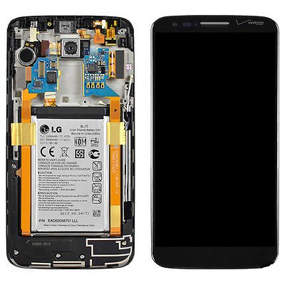 Generic Lcd Screen Digitizer Touch + Frame & Battery & Camera For Lg G2 Vs980 Verizon Black
