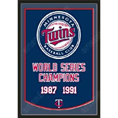 Dynasty Banner Of Minnesota Twins With Team Color Double Matting-Framed Awesome &... by Art and More, Davenport, IA