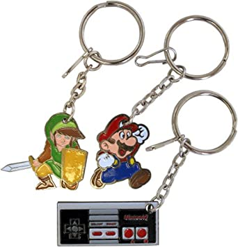 Officially Licensed Nintendo Three Piece Zipper Pull / Keychain Set (Legend of Zelda, Mario, and Controller)