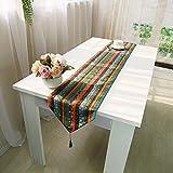 AIHOME アジアン モダン テーブルランナー 和風復古 綿麻テーブルランナー