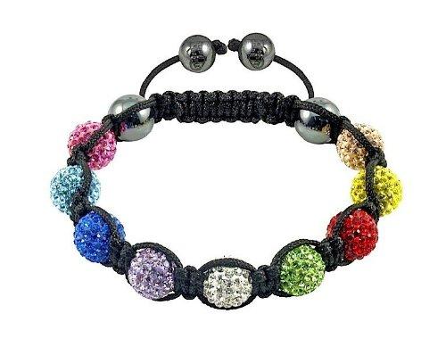 Dream Jewelry Mix Colors Cz Crystal 10mm 9pcs Disco Balls Shamballa Bracelets +Box