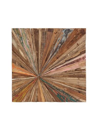 Square Teak Abstract Wall Décor