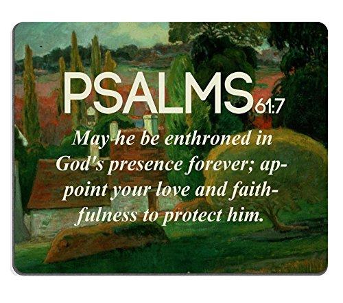 """Psalms 61_7 """", con versi della Bibbia all'interno che può essere enthroned in Gods presenza forever nomina il proprio amore e faithfulness MSD personalizzato per proteggere gli ordini realizzati con panno in Neoprene, Tappetino per Mouse"""