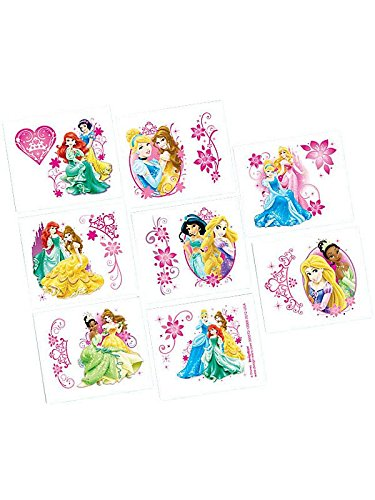 "Amscan Disney Princess Sparkle Tattoos, Multicolored, 2"" x 1 3/4"" - 1"