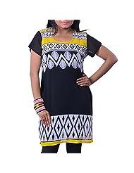 Riiti Designs Black & Yellow Georgette Round Neck Kurti For Women