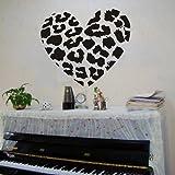 "DIY Olivia Leopard Spots Love Heart Wall Decals Removable wall Sticker Art DIY Vinyl Decor for Teen Boys Girls Bedroom Home Mural Decoration (Black, 23.6"" X 27.6"")"