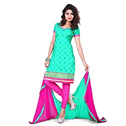 Vardhman Synthetics Women Embroidered Unstitched Dress Material (Green_Free Size)