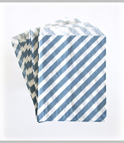 Navy Blue Gift Bags, Striped Treat Bags, Favor Bag Ideas, Graduation Goody Bags, 25 Pack - Navy Striped front-700514