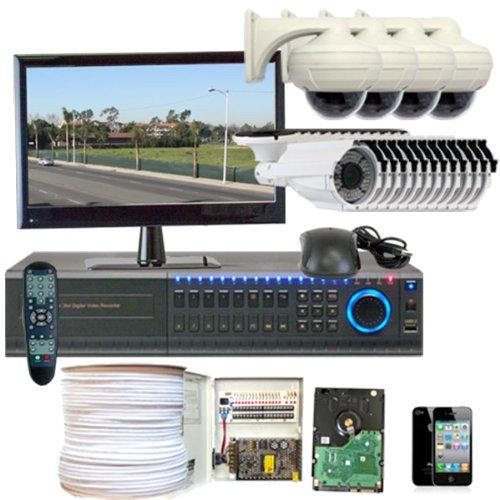 Gw Security Inc 16Chh2 Hd-Sdi 16Ch Dvr With 4 X 2.1 Megapixel Hd-Sdi Cameras And 12 X Sony Super Ccd 700 Tvl Camera Security Camera System (White/Black)